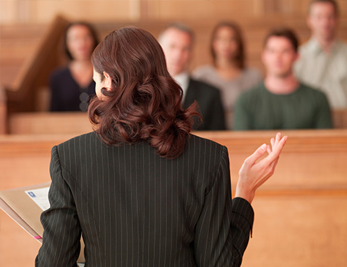 Female lawyer in court.